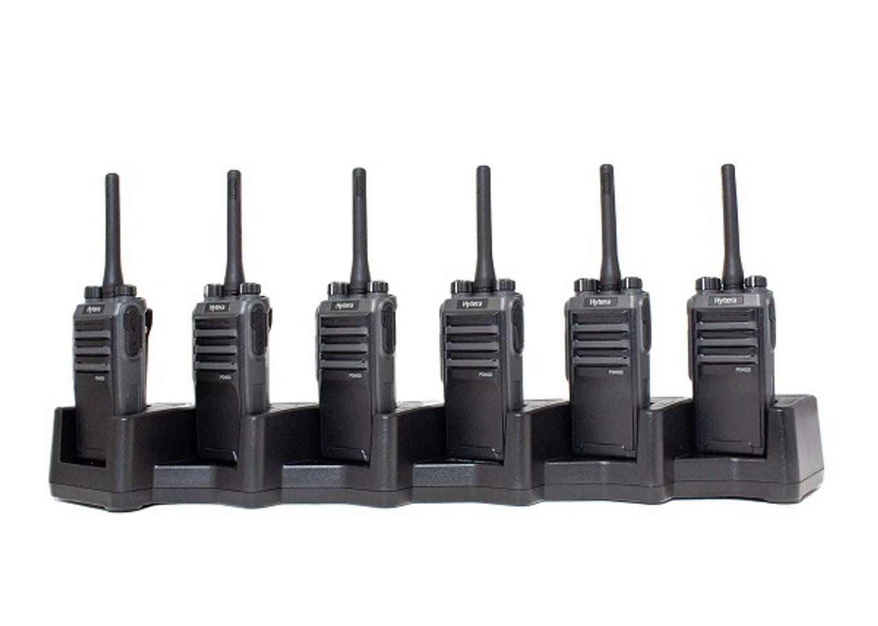 Hytera PD402i Digital Two Way Radio, Pack of Six with Multi-Charger