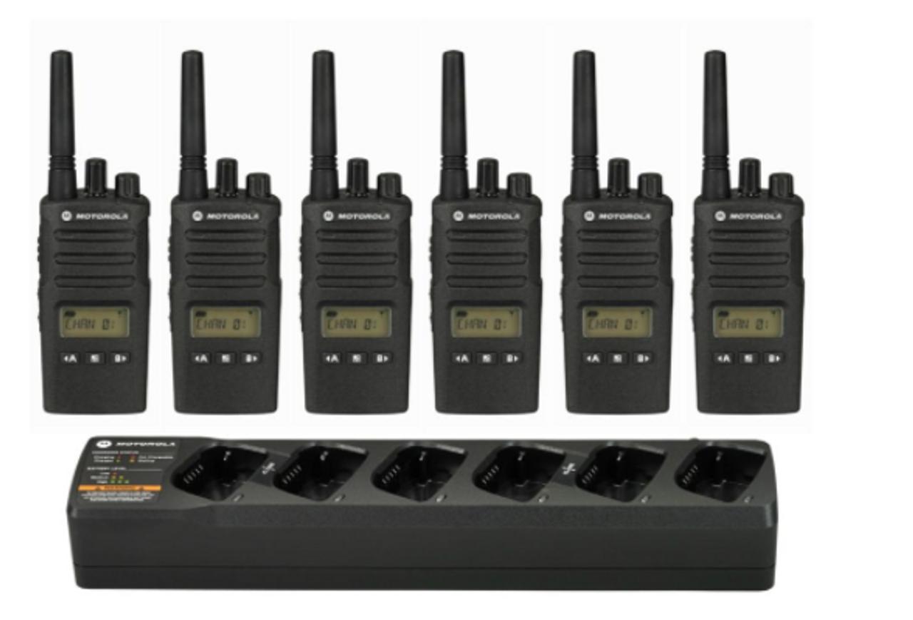 Motorola RMU2080d UHF Two Way Radio 6 Pack with Multi-Unit Charging Tray
