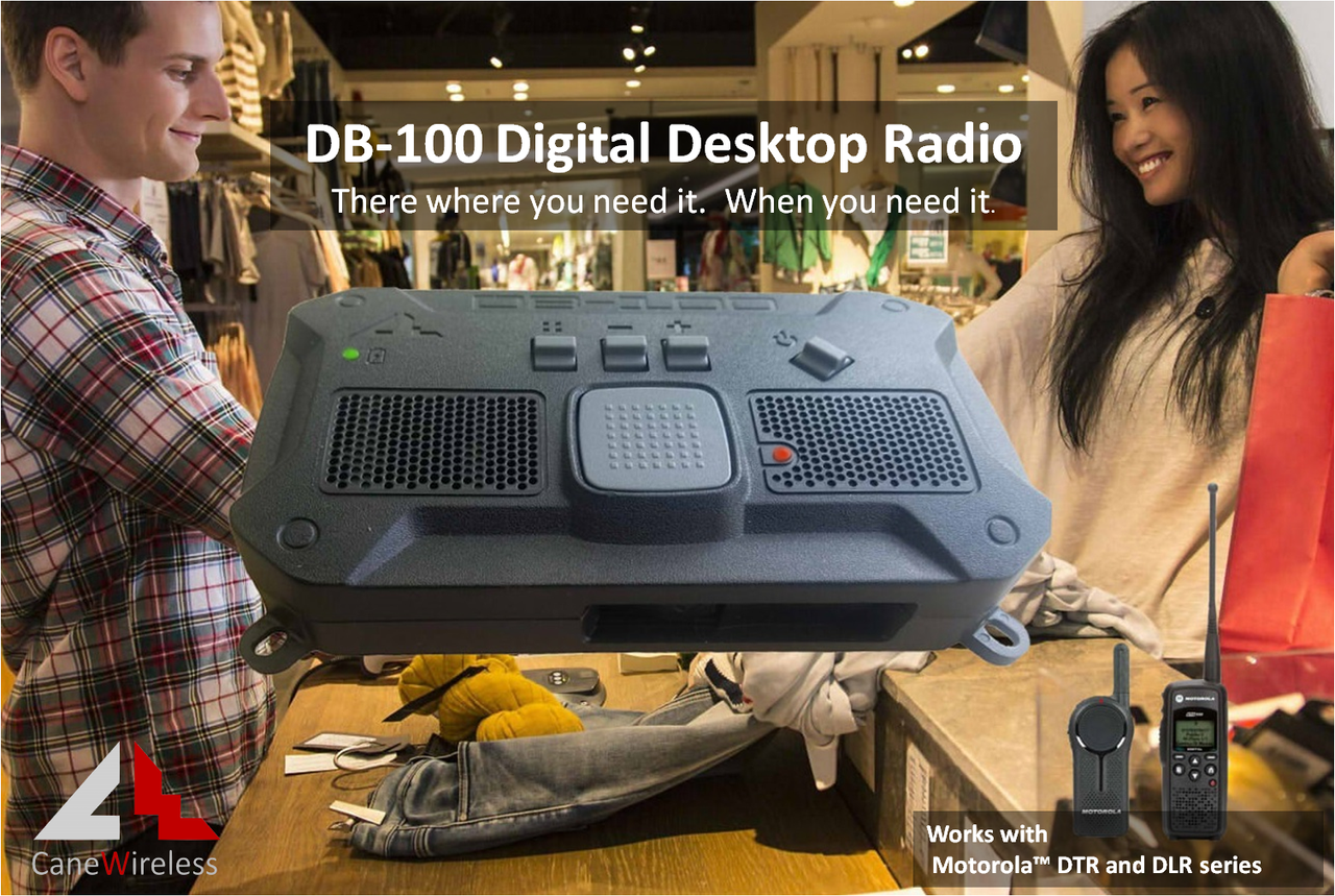 Cane Wireless DB-1060 Digital Base Station for Motorola DLR & DTR Series Radios works great for retail stores.