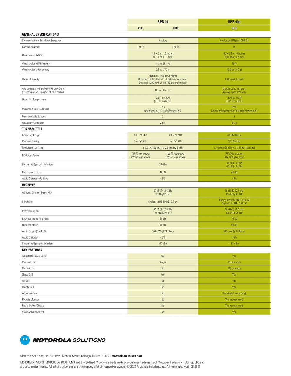 Motorola BPR40d Spec Sheet Page 3