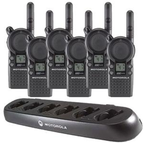 Motorola CLS1110 1 Watt 1 Channel UHF Two Way Radio Six Pack with a Motorola 56531  CLS Series Multi-Charger