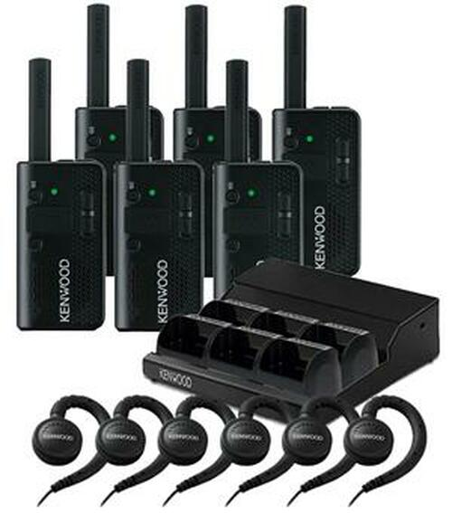 Kenwood PKT-23 Six Pack of Two Way Radios with 6 KHS-34 Headsets and One KMB-44 Multi Unit Charging Tray