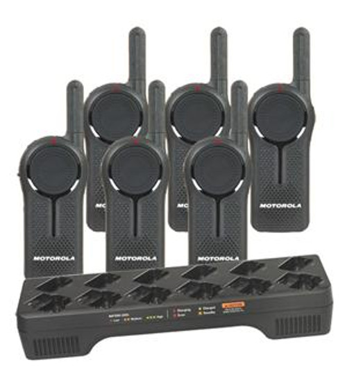 Motorola DLR1020 Digital Way Radio Six Pack with Multi-Unit Charging Tray