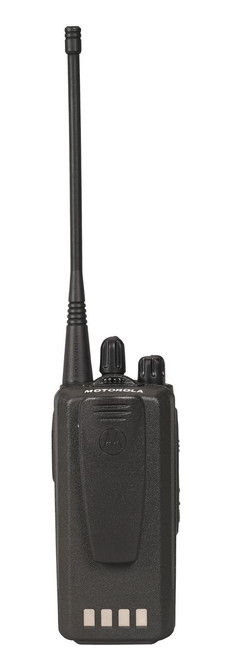 Rear view of Motorola CP185 UHF or VHF Two Way Radio