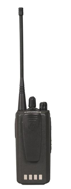 Rear view of Motorola CP185 UHF or VHF Two Way Radio