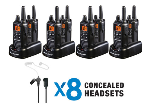 Midland LXT600BBX4 8 Pack of Business Quality FRS Two Way Radios with Headsets