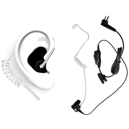 Motorola HKLN4601 Surveillance Earpiece with DECIBULLZ Black Custom Earplug