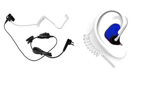 Motorola HKLN4601 Surveillance Earpiece with Blue Custom Earplug