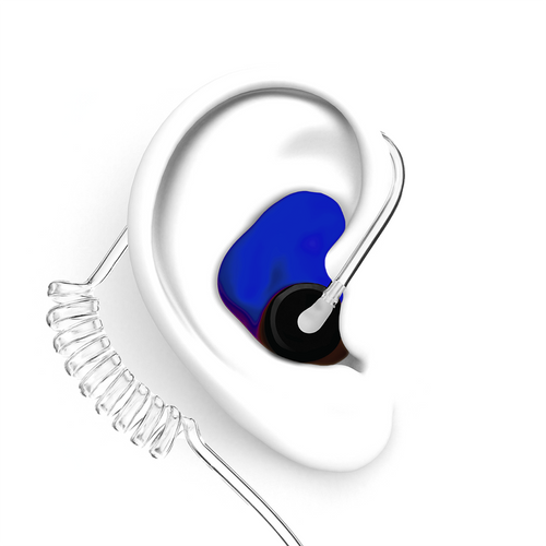 DECIBULLZ Blue Custom Earplug for Two Way Radio Headsets