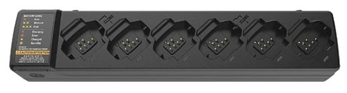 Motorola PMPN4465 Multi-Charger Charges 6 DTR600, DTR700, or Six DTR Series Batteries with one plug.