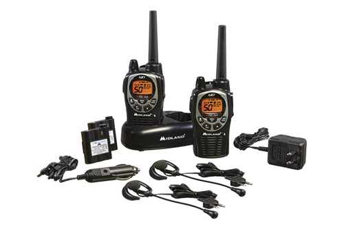 Midland GXT1000VP4 GMRS Walkie Talkie Bundle includes rechargeable batteries and headsets.