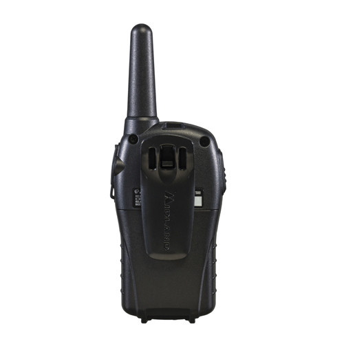 Rear view of Midland LXT535VP3 FRS Walkie Talkies, pack of 2