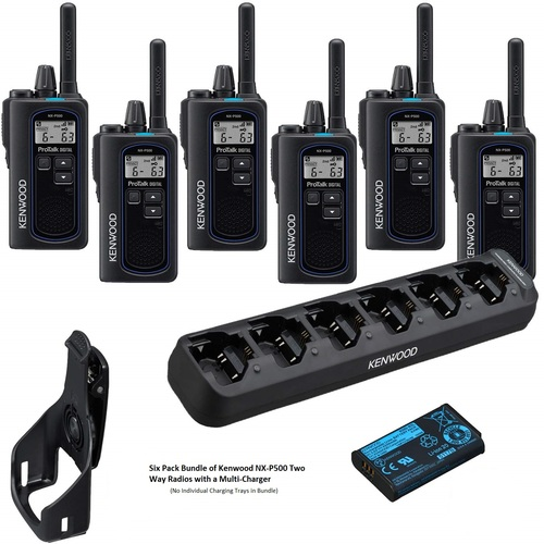 Kenwood NX-P500 2 Watt Digital Two Way Radio, Bundle of 6 Walkie Talkies