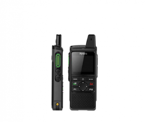 Hytera PNC370 poC Cellular based two way radio - front and side view