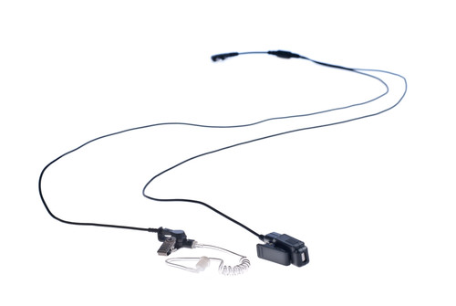 Two Wire Surveillance Earpiece with Push To Talk Mic