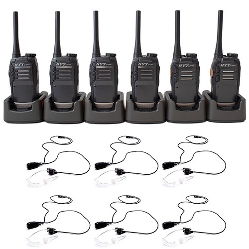 HYT TC-320 & Surveillance Headset with In-Line Push to Talk Mic and Multi-Unit Charging Tray, Six Pack