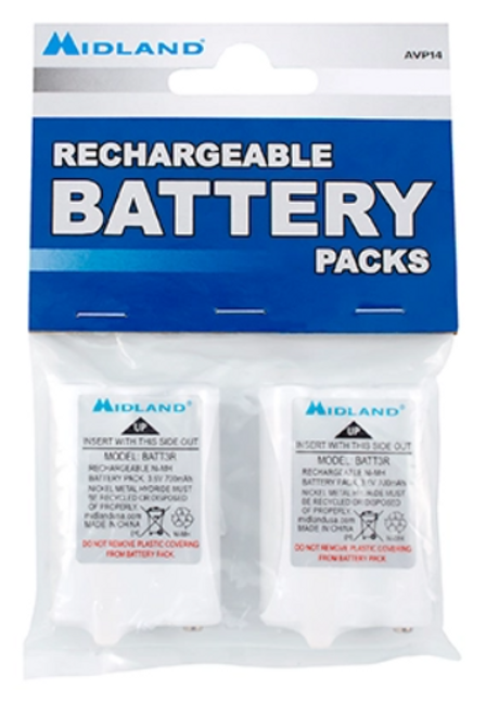 Midland AVP14 contains two batteries per pack.