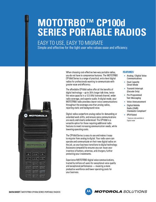 Motorola CP100d with Full Key Pad Spec Sheet Pg1