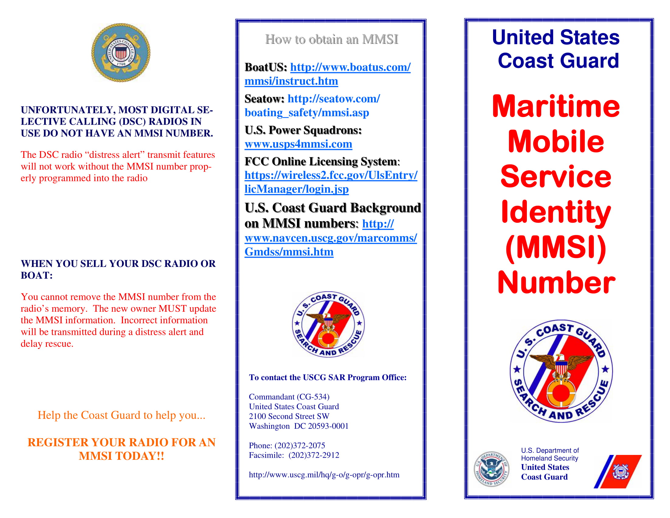 Coast Guard MMSI Brochure Page 1