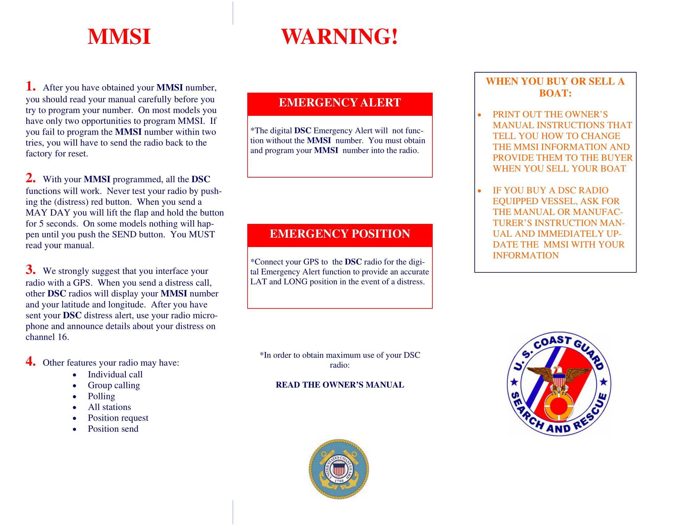 Coast Guard MMSI Brochure Page 2