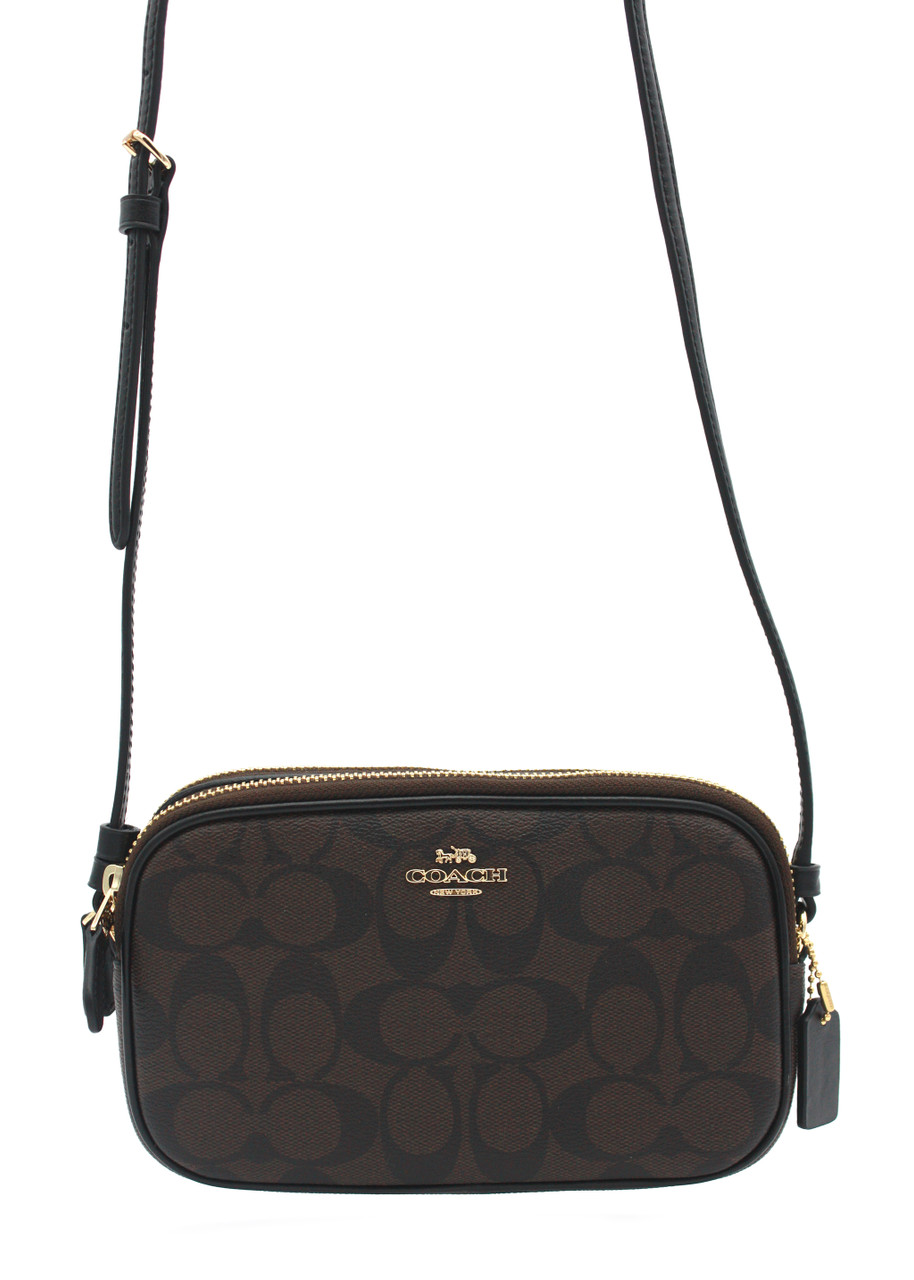 Coach F29210 Crossbody File Bag in Signature Canvas Brown Black