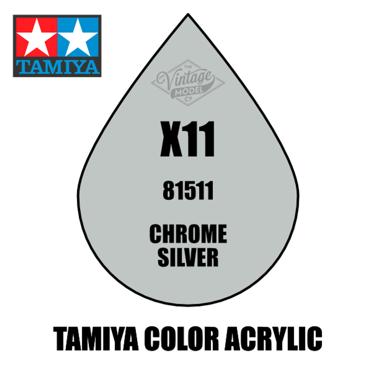 Tamiya Mini X-11 Metallic Gloss Chrome Silver  10ml Acrylic Paint