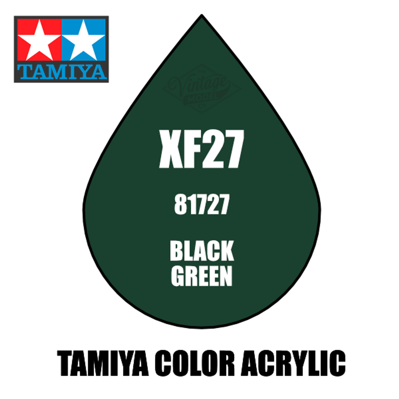 Tamiya Mini XF-27 Flat Black Green 10ml Acrylic Paint