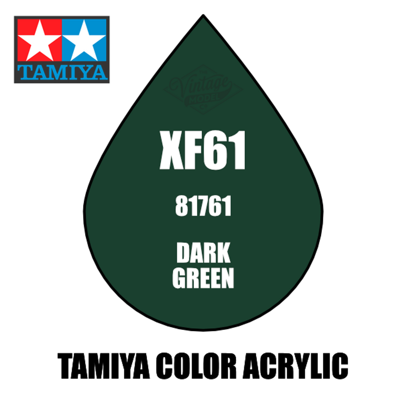 Tamiya Mini XF-61 Flat Dark Green 10ml Acrylic Paint