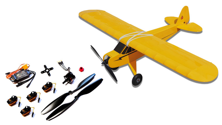 "42"" Balsa Basics Super Cub and Electronics Pack & Wheels"