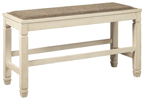 Bolanburg White / Brown / Beige DBL Counter Upholstered Bench (1/CN)
