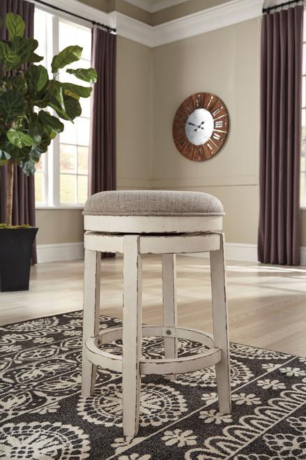 Realyn Chipped White Upholstered Swivel Stool (1/CN)