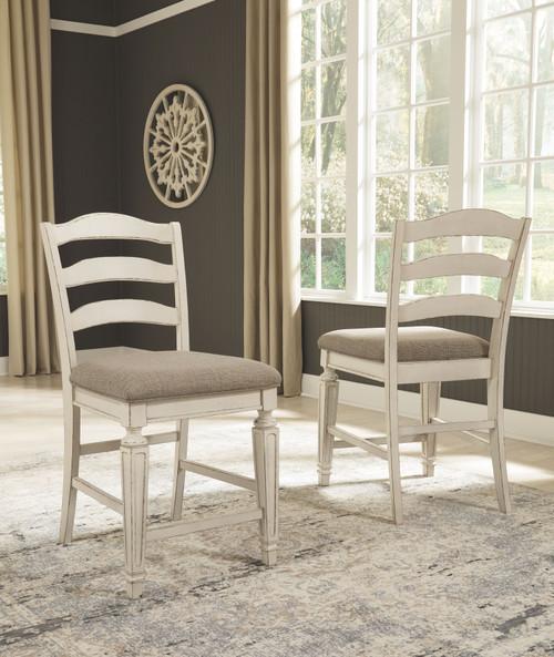 Realyn Chipped White Upholstered Barstool (Set of 2)