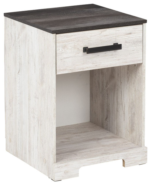 Shawburn Whitewash/Charcoal Gray One Drawer Night Stand