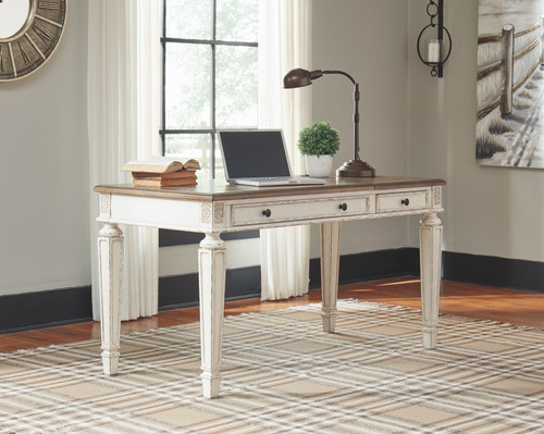 Realyn White/Brown Home Office Lift Top Desk