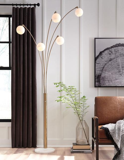 Taliya Champagne/White Metal Arc Lamp (1/CN)