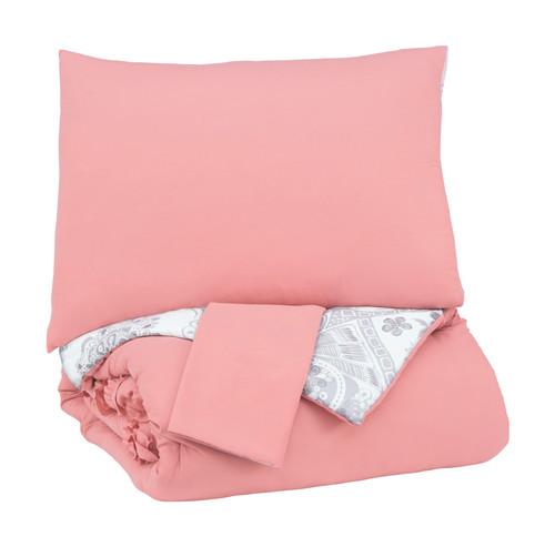 Avaleigh Pink/White/Gray Full Comforter Set
