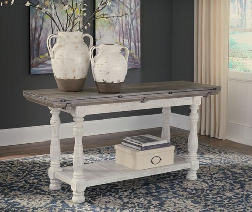 Havalance Gray/White Flip Top Sofa Table