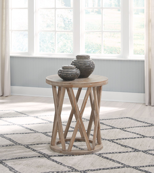 Glasslore Light Grayish Brown Round End Table