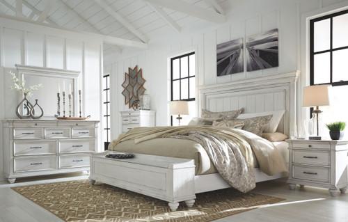 Kanwyn Whitewash 5 Pc. Dresser, Mirror & California King Panel Bed with Storage Bench