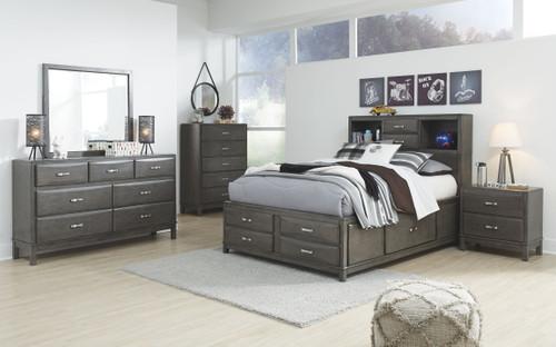 Caitbrook Gray 7 Pc. Dresser, Mirror, Full Storage Bed & 2 Nightstands