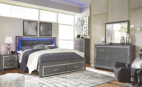 Lodanna Gray 7 Pc. Dresser, Mirror, King Panel Bed with Storage & 2 Nightstands