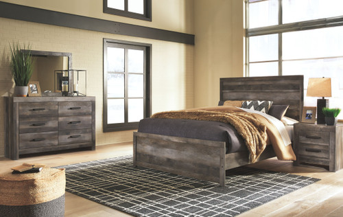 Wynnlow Gray 6 Pc. Dresser, Mirror, King Panel Bed & 2 Nightstands