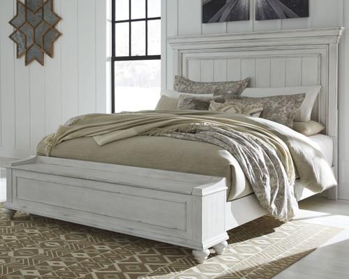 Kanwyn Whitewash California King Panel Bed with Storage Bench