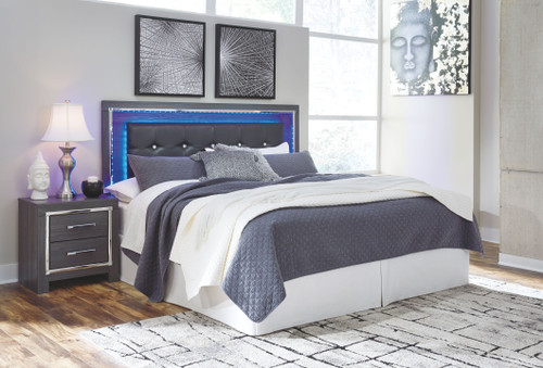 Lodanna Gray King Upholstered Panel HDBD with Bolt on Bed Frame