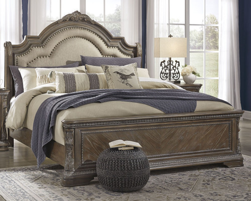 Charmond Brown King Upholstered Sleigh Bed