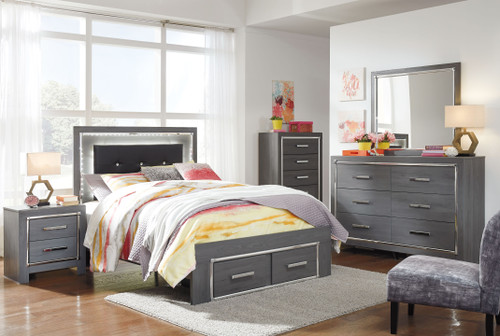 Lodanna Gray 6 Pc. Dresser, Mirror, Full Panel Bed with Storage & Nightstand