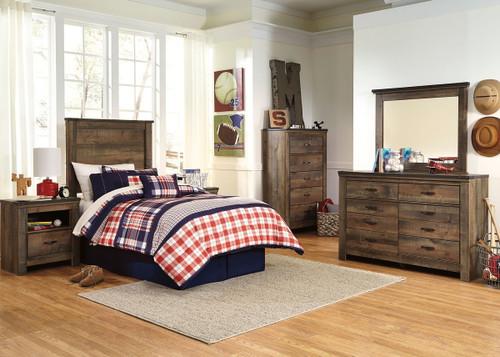 Trinell Brown 4 Pc. Dresser, Mirror, Twin Panel Headboard Bed & 2 Nightstands