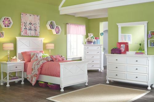 Kaslyn White Dresser, Mirror, Chest & Twin Panel Bed