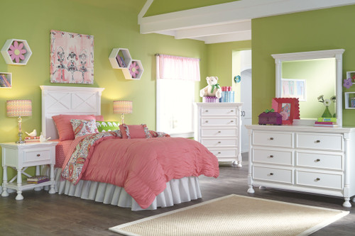 Kaslyn White 6 Pc. Dresser, Mirror, Chest, Twin Panel Headboard & 2 Nightstands