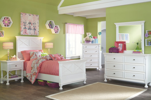 Kaslyn White Dresser, Mirror, Twin Panel Bed & 2 Nightstands